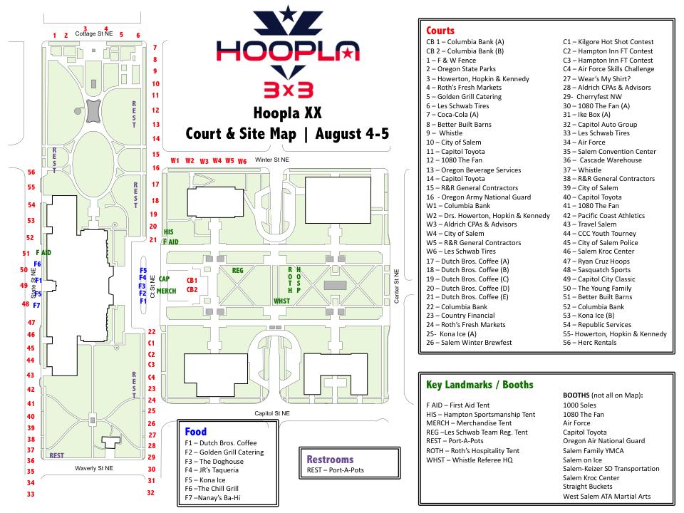 Hoopla Site & Court Map - Oregon Hoopla - August 3-4, 2019 in Salem ...